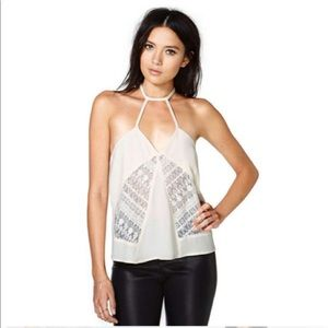 NASTY GAL Lace Cami Top Strappy Lace Cream